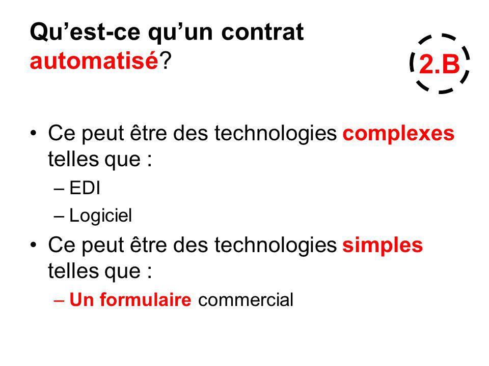 Quest-ce quun contrat automatisé? Ce peut être des technologies complexes telles que : –EDI –Logiciel Ce peut être des technologies simples telles que