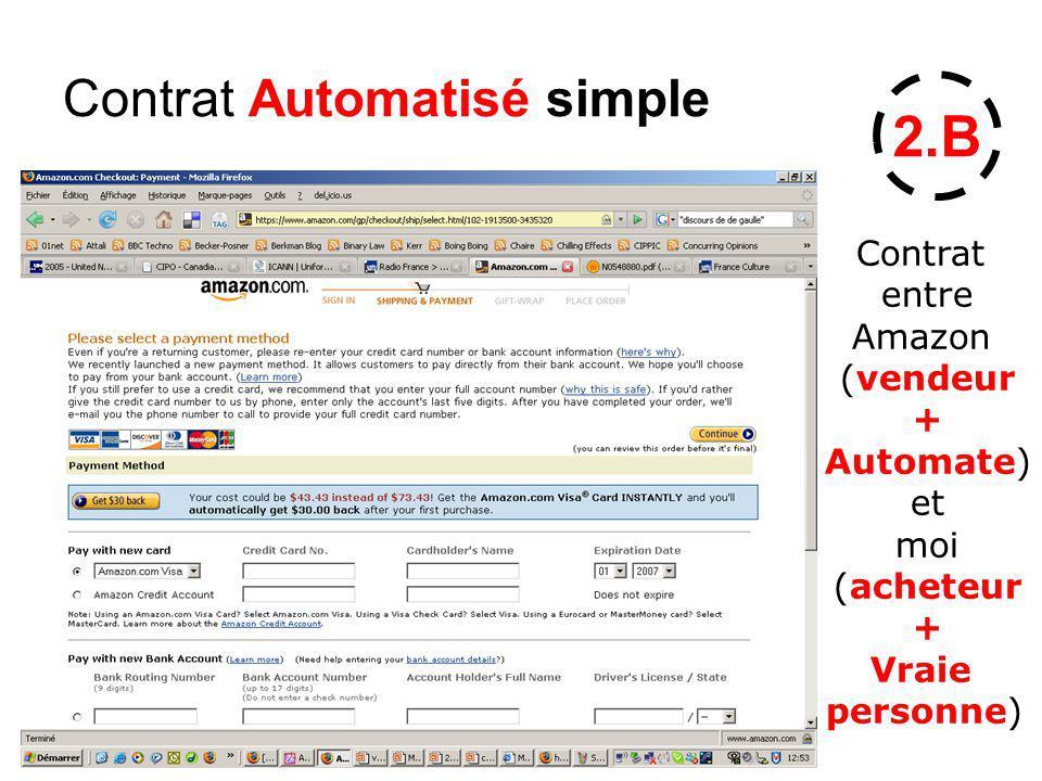 Contrat Automatisé simple 2.B Contrat entre Amazon (vendeur + Automate) et moi (acheteur + Vraie personne)