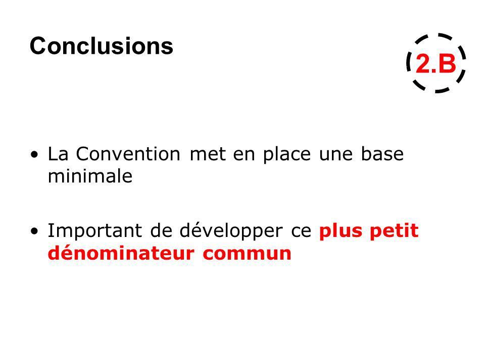 Conclusions La Convention met en place une base minimale Important de développer ce plus petit dénominateur commun 2.B