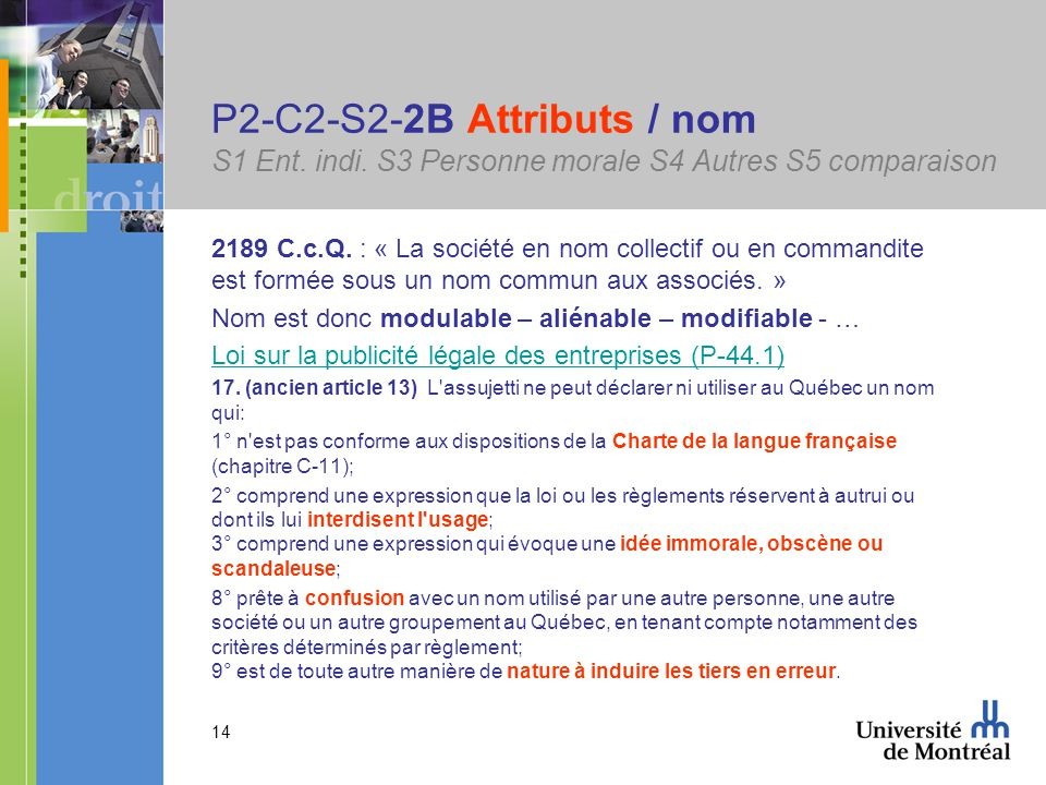 14 P2-C2-S2-2B Attributs / nom S1 Ent. indi.