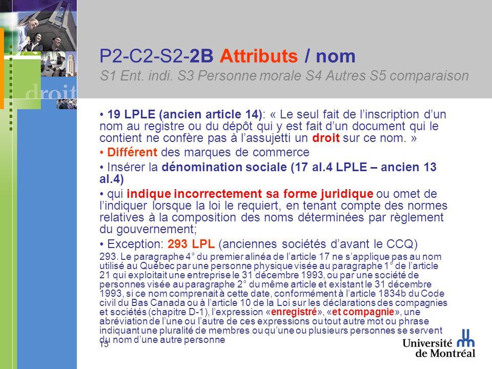 15 P2-C2-S2-2B Attributs / nom S1 Ent. indi.