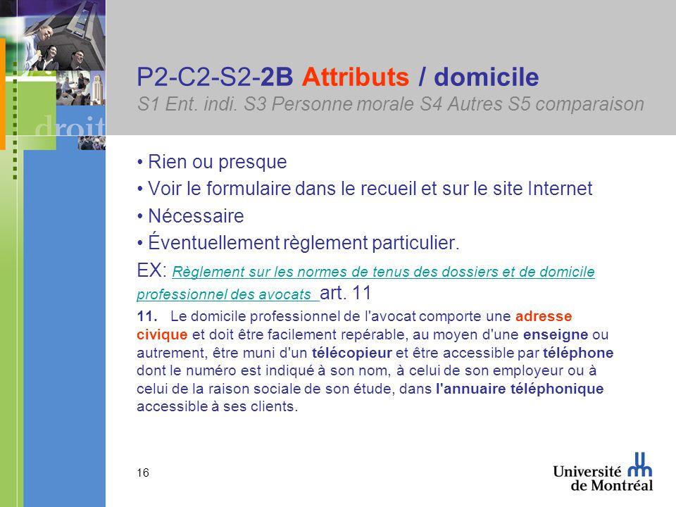 16 P2-C2-S2-2B Attributs / domicile S1 Ent. indi.