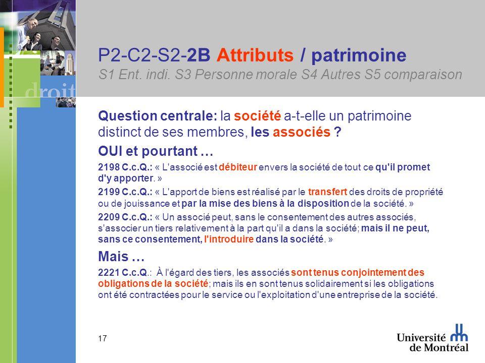 17 P2-C2-S2-2B Attributs / patrimoine S1 Ent. indi.