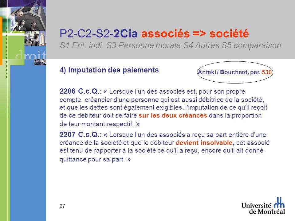27 P2-C2-S2-2Cia associés => société S1 Ent. indi.