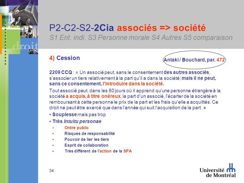 34 P2-C2-S2-2Cia associés => société S1 Ent. indi.