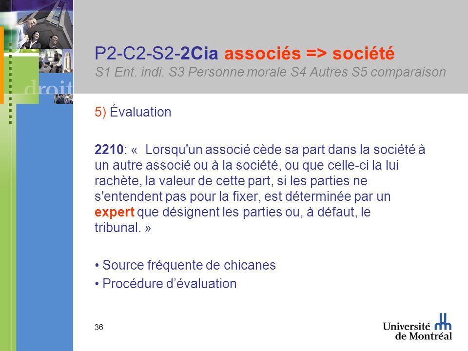 36 P2-C2-S2-2Cia associés => société S1 Ent. indi.