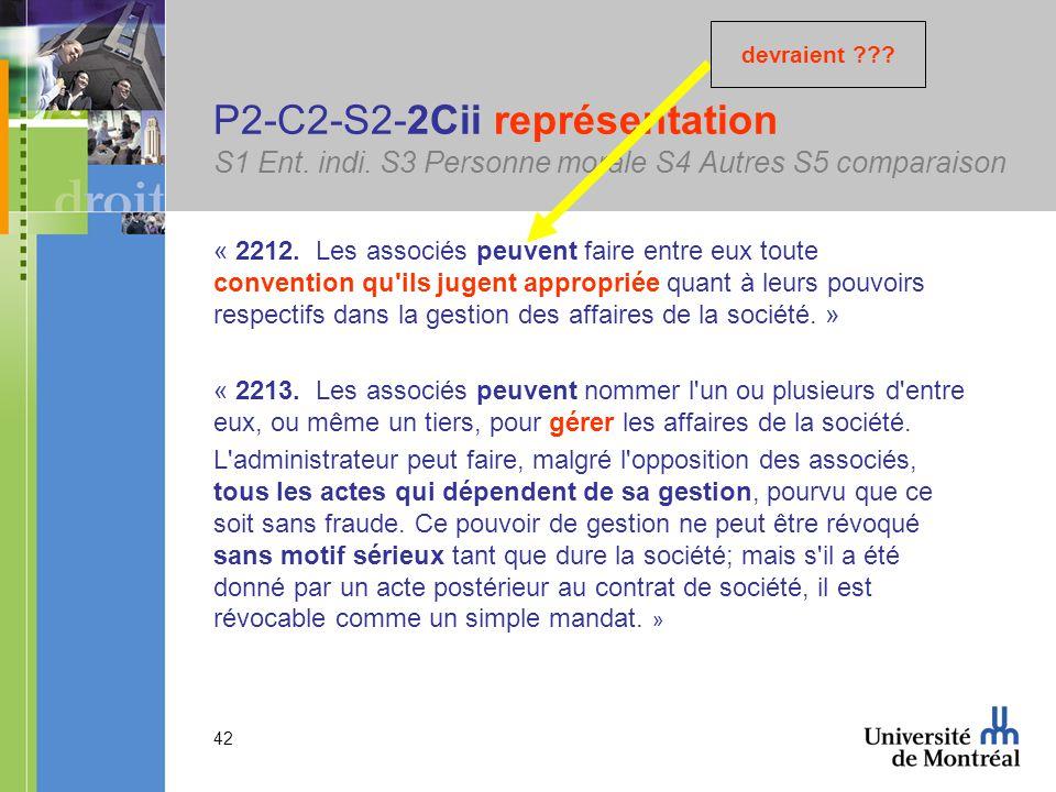 42 P2-C2-S2-2Cii représentation S1 Ent. indi. S3 Personne morale S4 Autres S5 comparaison « 2212.