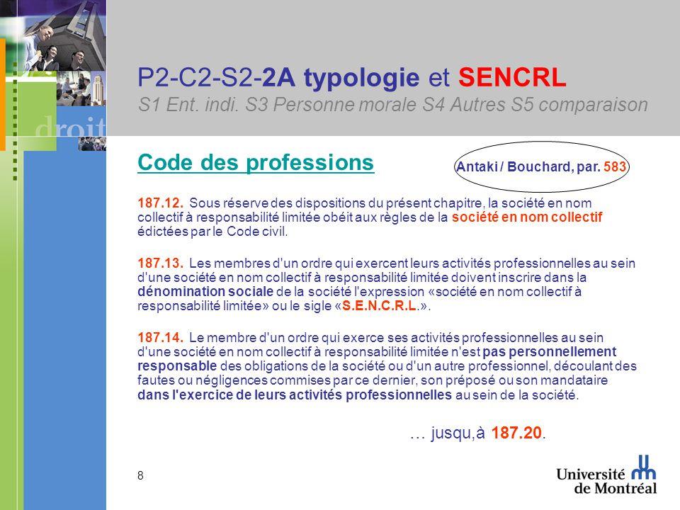 39 P2-C2-S2-2Cib associé => associé S1 Ent.indi. S3 Personne morale S4 Autres S5 comparaison 2201.