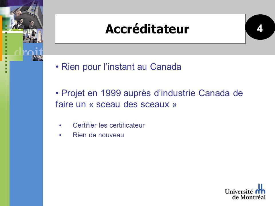 Rien pour linstant au Canada Projet en 1999 auprès dindustrie Canada de faire un « sceau des sceaux » Certifier les certificateur Rien de nouveau 4 Accréditateur