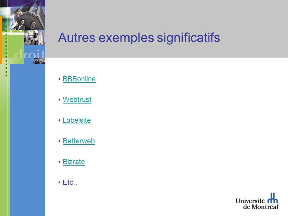 Autres exemples significatifs BBBonline Webtrust Labelsite Betterweb Bizrate Etc..