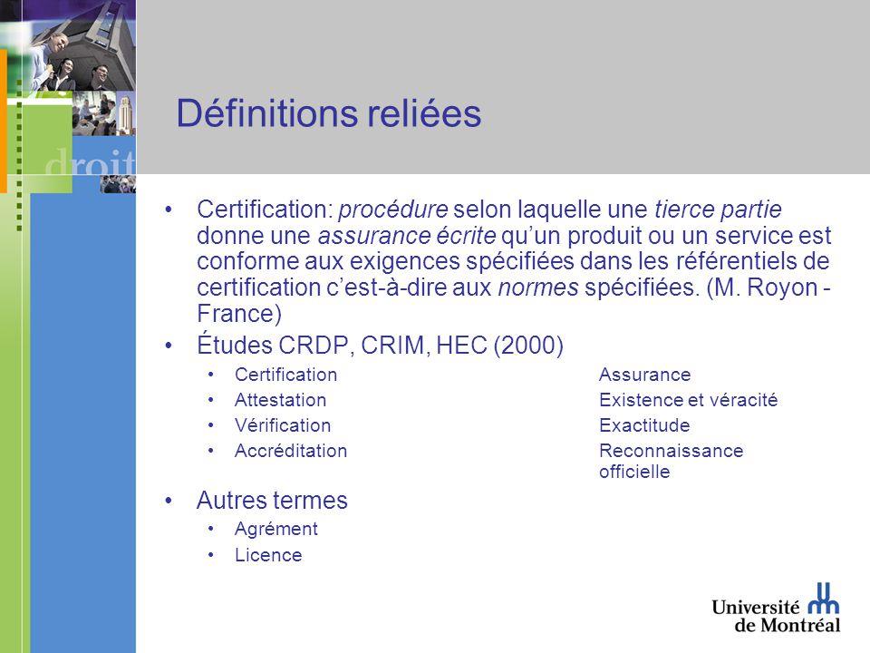 Définitions reliées Certification: procédure selon laquelle une tierce partie donne une assurance écrite quun produit ou un service est conforme aux exigences spécifiées dans les référentiels de certification cest-à-dire aux normes spécifiées.