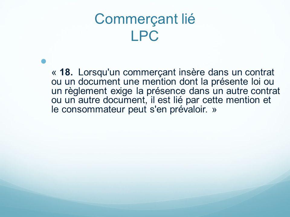 Commerçant lié LPC « 18.