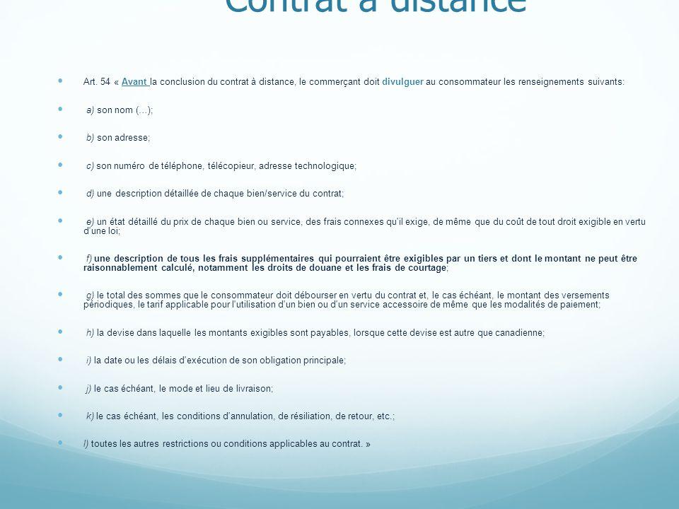 Contrat à distance Art.