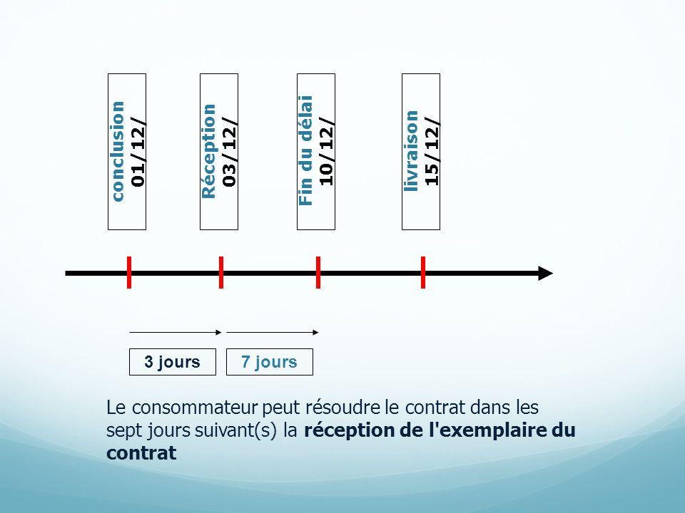conclusion 01/12/ Fin du délai 10/12/ Réception 03/12/ 3 jours7 jours livraison 15/12/ Le consommateur peut résoudre le contrat dans les sept jours suivant(s) la réception de l exemplaire du contrat