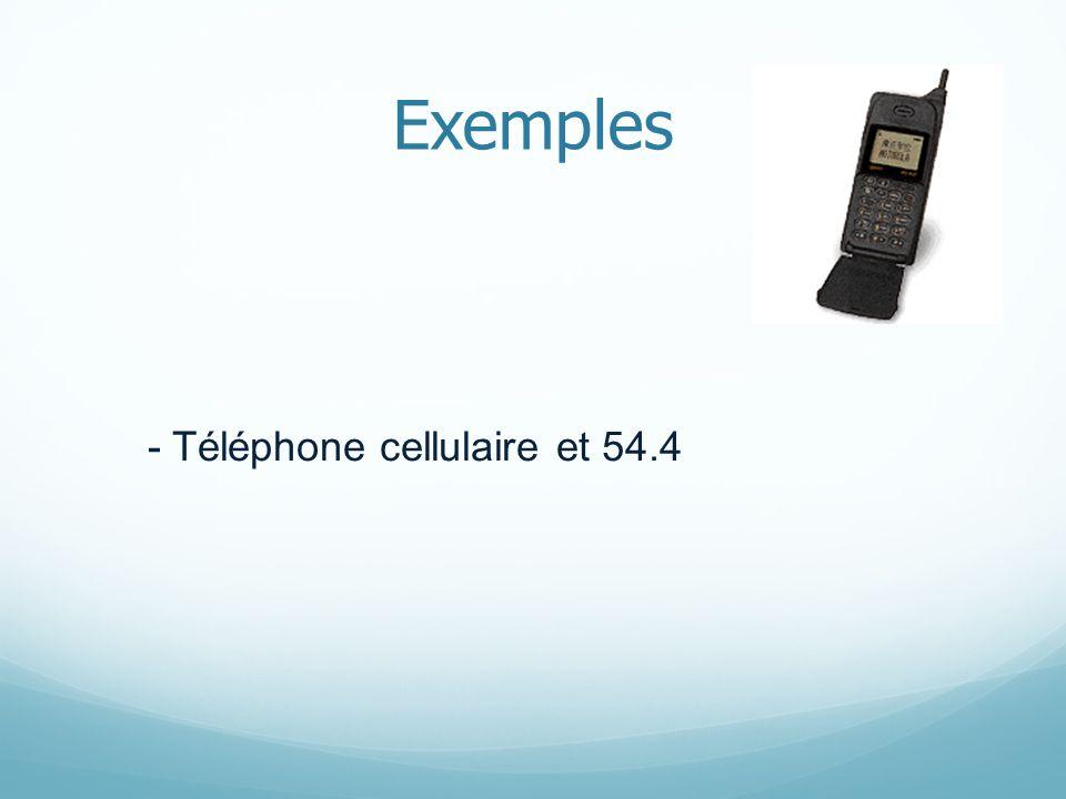 Exemples - Téléphone cellulaire et 54.4