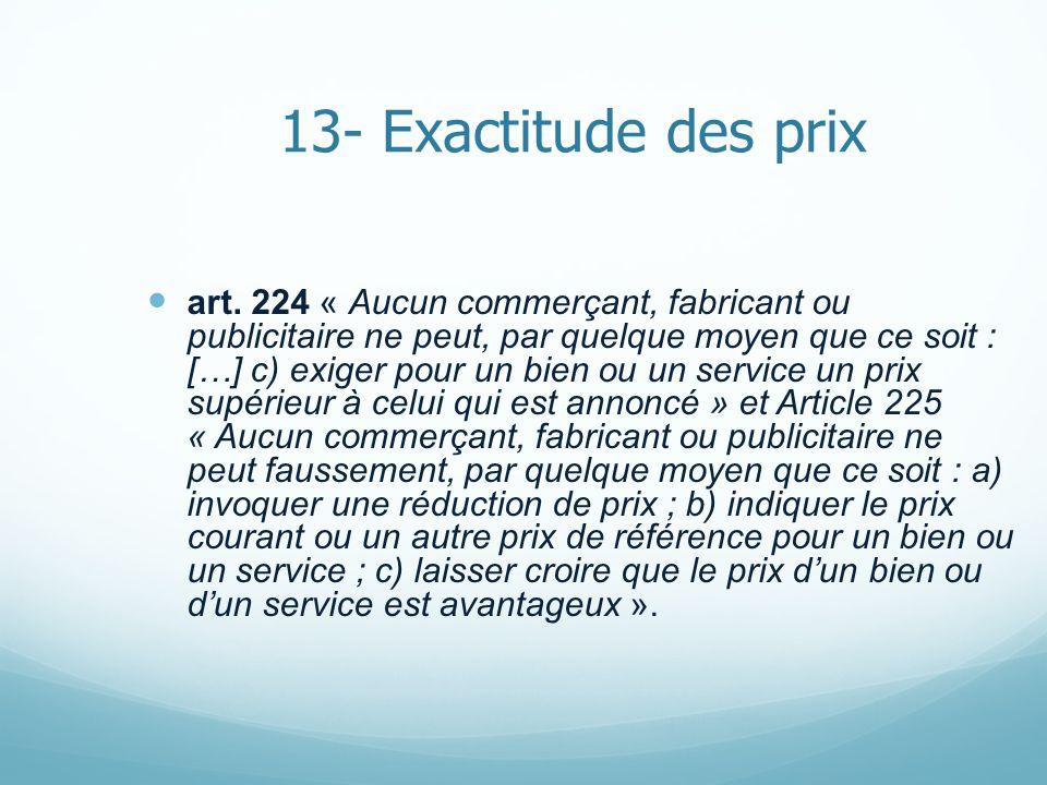 13- Exactitude des prix art.