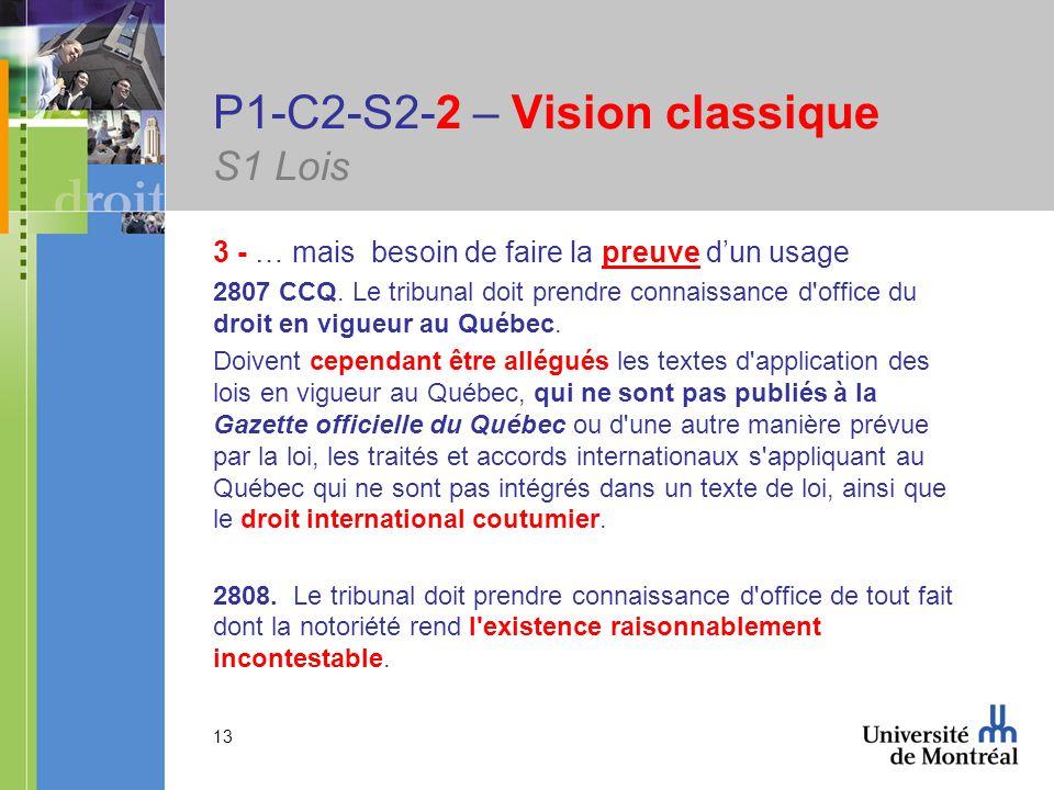 13 P1-C2-S2-2 – Vision classique S1 Lois 3 - … mais besoin de faire la preuve dun usage 2807 CCQ.