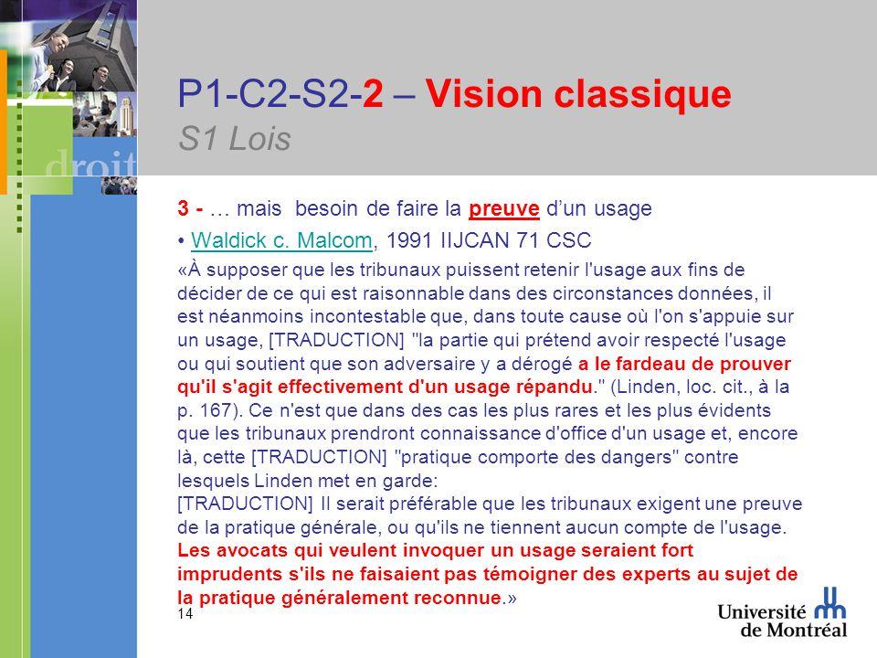 14 P1-C2-S2-2 – Vision classique S1 Lois 3 - … mais besoin de faire la preuve dun usage Waldick c.
