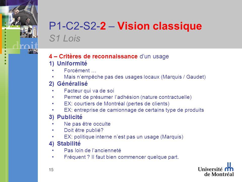 15 P1-C2-S2-2 – Vision classique S1 Lois 4 – Critères de reconnaissance dun usage 1)Uniformité Forcément … Mais nempêche pas des usages locaux (Marquis / Gaudet) 2)Généralisé Facteur qui va de soi Permet de présumer ladhésion (nature contractuelle) EX: courtiers de Montréal (pertes de clients) EX: entreprise de camionnage de certains type de produits 3)Publicité Ne pas être occulte Doit être publié.