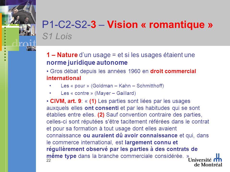 22 P1-C2-S2-3 – Vision « romantique » S1 Lois 1 – Nature dun usage = et si les usages étaient une norme juridique autonome Gros débat depuis les années 1960 en droit commercial international Les « pour » (Goldman – Kahn – Schmitthoff) Les « contre » (Mayer – Gaillard) CIVM, art.