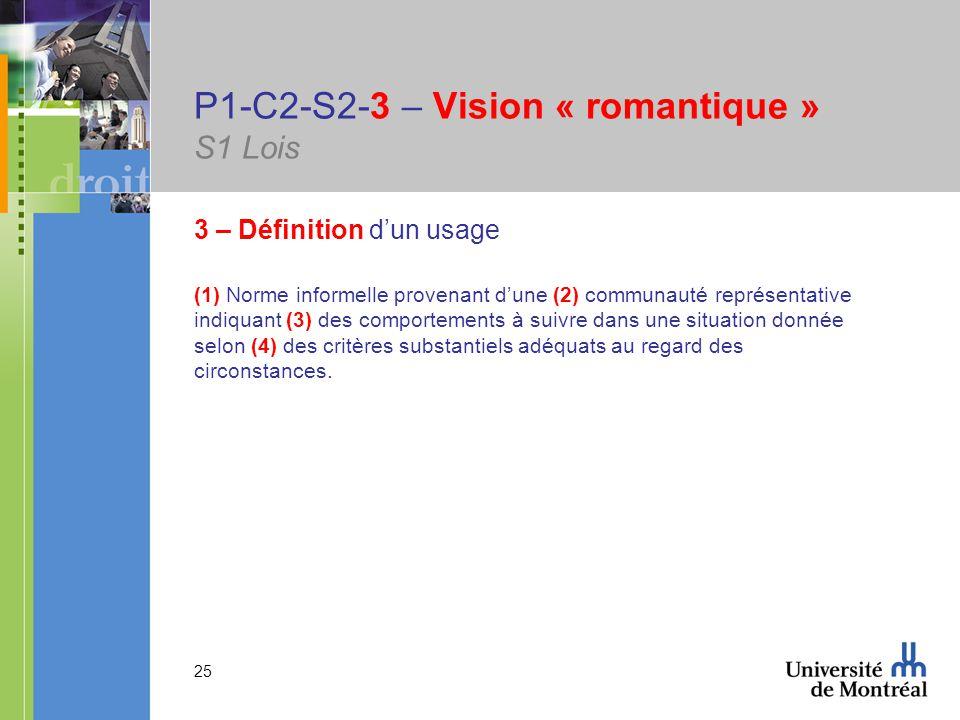 25 P1-C2-S2-3 – Vision « romantique » S1 Lois 3 – Définition dun usage (1) Norme informelle provenant dune (2) communauté représentative indiquant (3) des comportements à suivre dans une situation donnée selon (4) des critères substantiels adéquats au regard des circonstances.