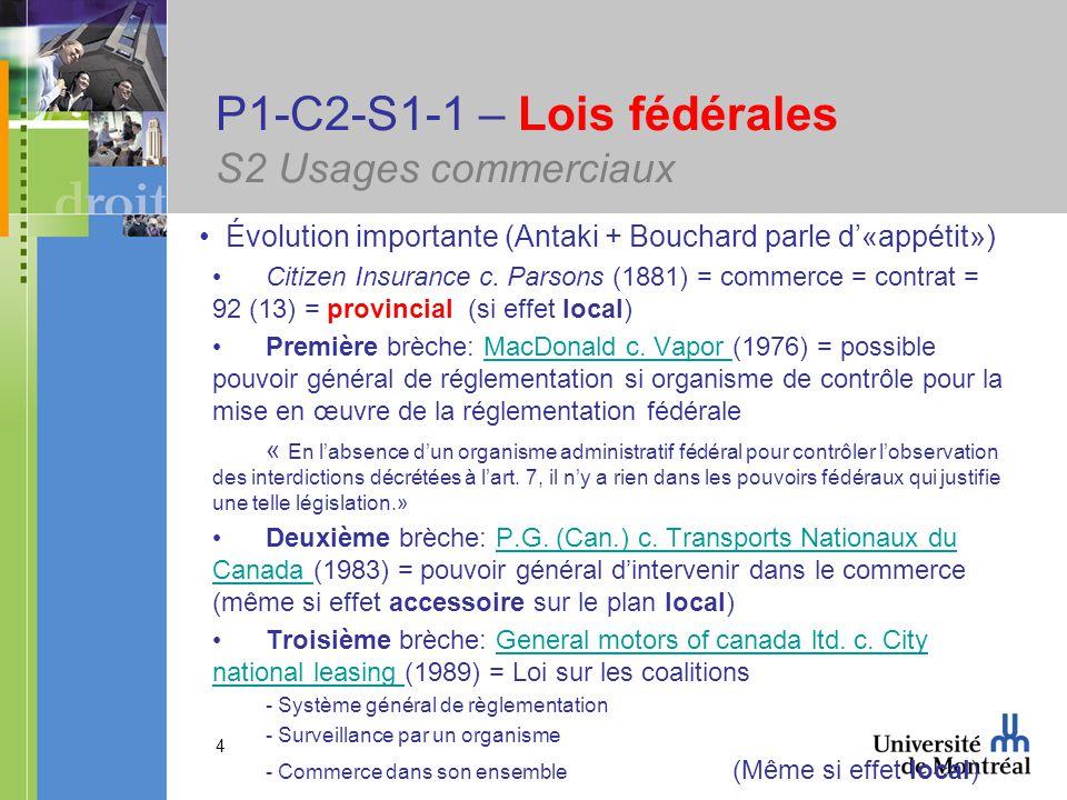 4 P1-C2-S1-1 – Lois fédérales S2 Usages commerciaux Évolution importante (Antaki + Bouchard parle d«appétit») Citizen Insurance c.