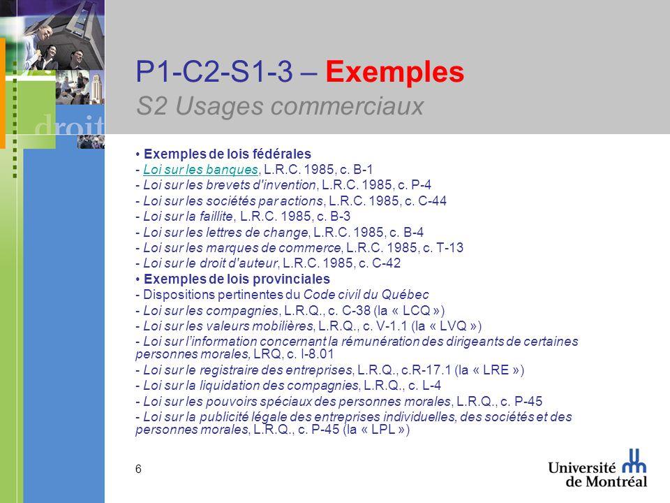 6 P1-C2-S1-3 – Exemples S2 Usages commerciaux Exemples de lois fédérales - Loi sur les banques, L.R.C.
