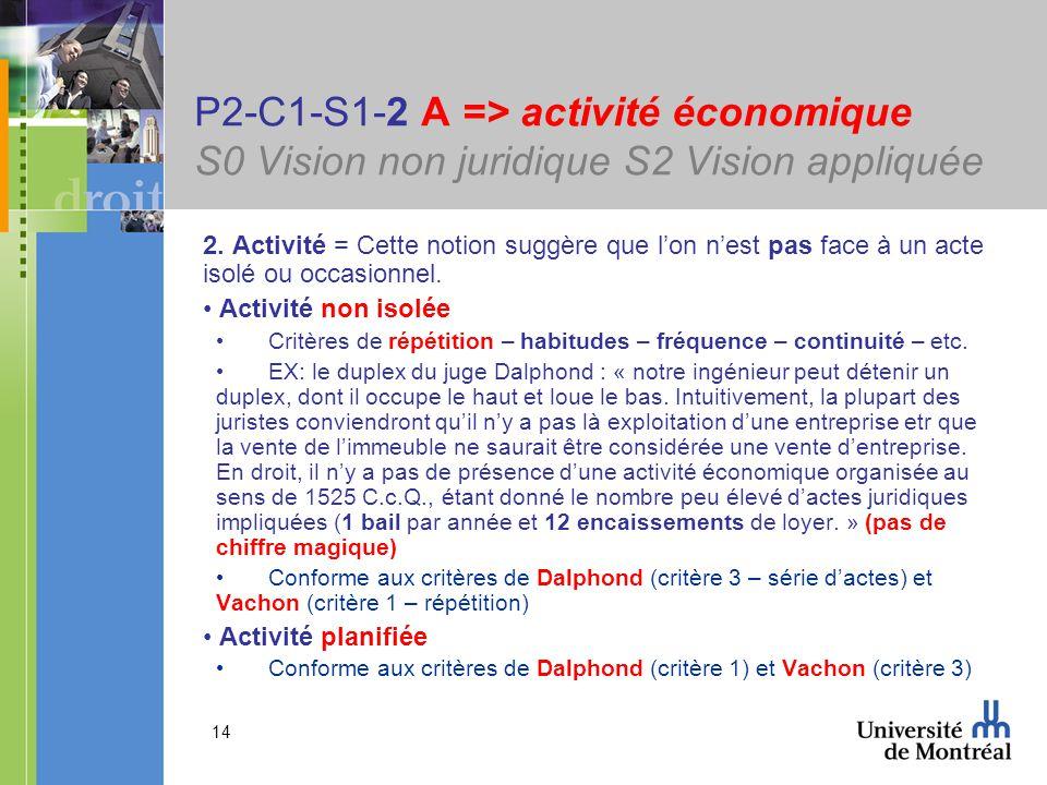 14 P2-C1-S1-2 A => activité économique S0 Vision non juridique S2 Vision appliquée 2. Activité = Cette notion suggère que lon nest pas face à un acte
