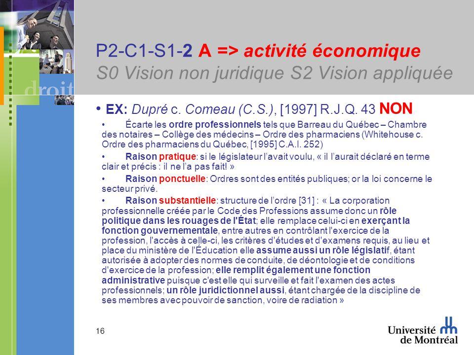 16 P2-C1-S1-2 A => activité économique S0 Vision non juridique S2 Vision appliquée EX: Dupré c. Comeau (C.S.), [1997] R.J.Q. 43 NON Écarte les ordre p