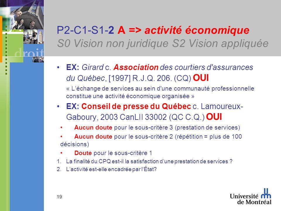 19 P2-C1-S1-2 A => activité économique S0 Vision non juridique S2 Vision appliquée EX: Girard c. Association des courtiers d'assurances du Québec, [19