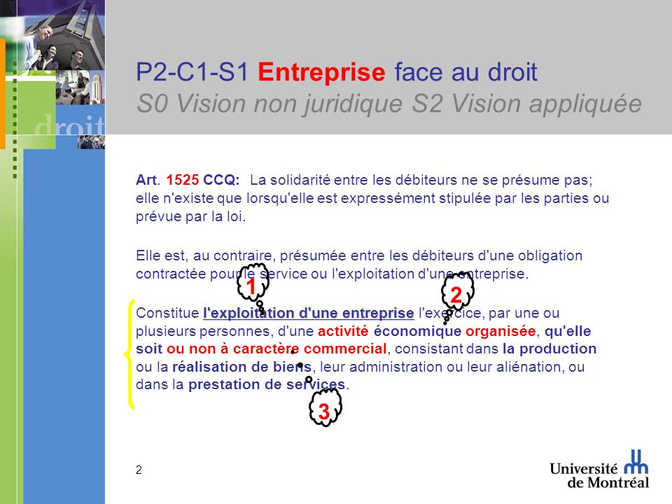 2 P2-C1-S1 Entreprise face au droit S0 Vision non juridique S2 Vision appliquée Art. 1525 CCQ: La solidarité entre les débiteurs ne se présume pas; el