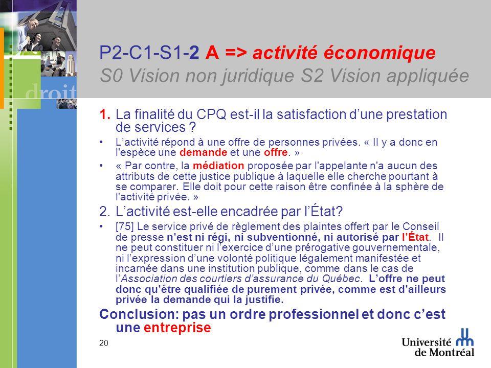 20 P2-C1-S1-2 A => activité économique S0 Vision non juridique S2 Vision appliquée 1.La finalité du CPQ est-il la satisfaction dune prestation de services .