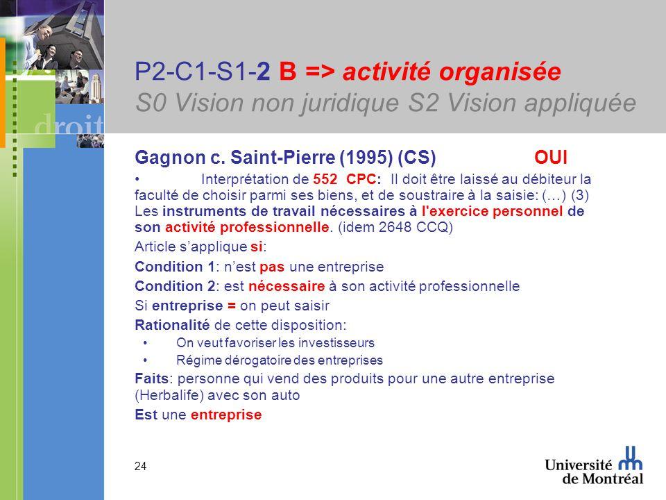 24 P2-C1-S1-2 B => activité organisée S0 Vision non juridique S2 Vision appliquée Gagnon c. Saint-Pierre (1995) (CS) OUI Interprétation de 552 CPC: Il