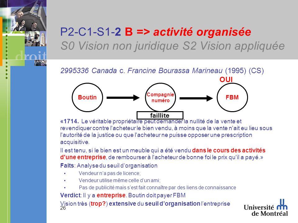 26 P2-C1-S1-2 B => activité organisée S0 Vision non juridique S2 Vision appliquée 2995336 Canada c. Francine Bourassa Marineau (1995) (CS) OUI «1714.