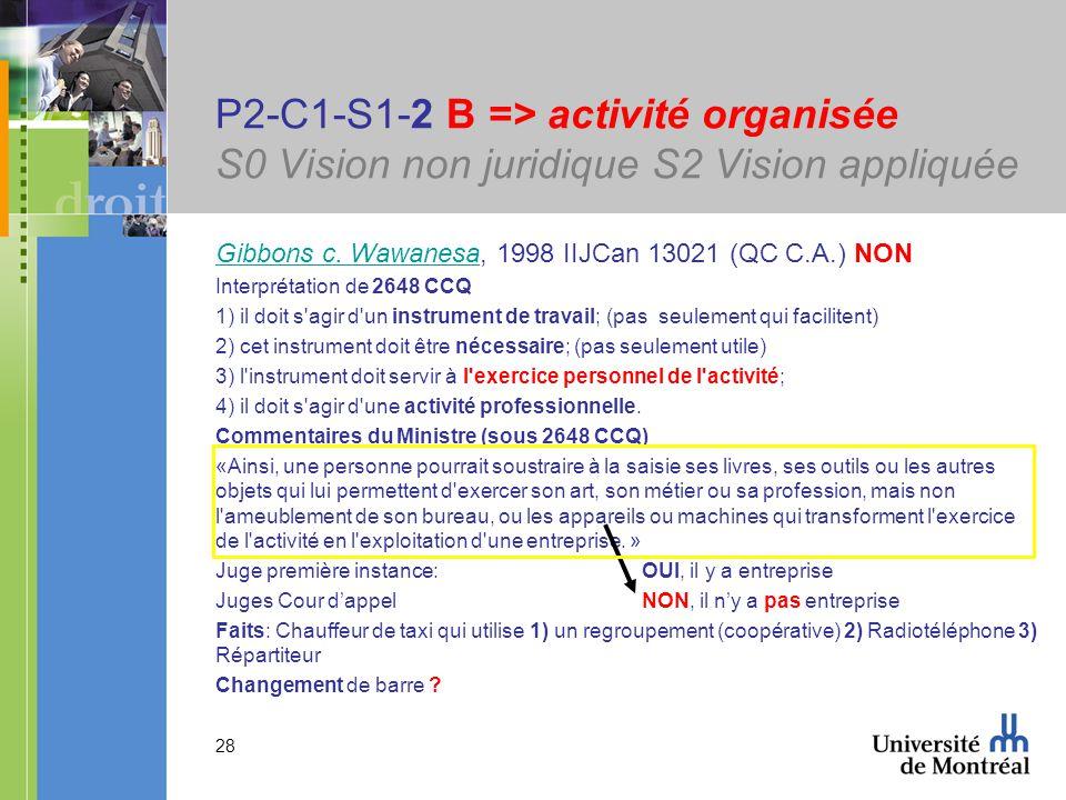 28 P2-C1-S1-2 B => activité organisée S0 Vision non juridique S2 Vision appliquée Gibbons c. WawanesaGibbons c. Wawanesa, 1998 IIJCan 13021 (QC C.A.)