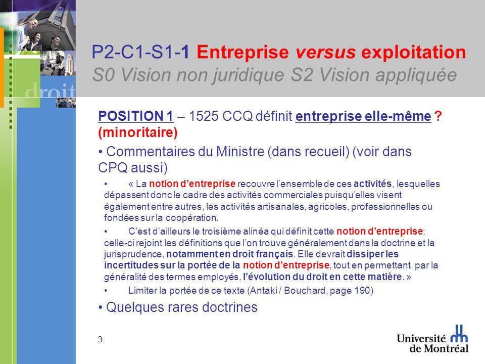 3 P2-C1-S1-1 Entreprise versus exploitation S0 Vision non juridique S2 Vision appliquée POSITION 1 – 1525 CCQ définit entreprise elle-même ? (minorita