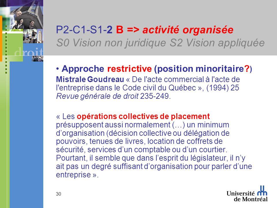 30 P2-C1-S1-2 B => activité organisée S0 Vision non juridique S2 Vision appliquée Approche restrictive (position minoritaire? ) Mistrale Goudreau « De