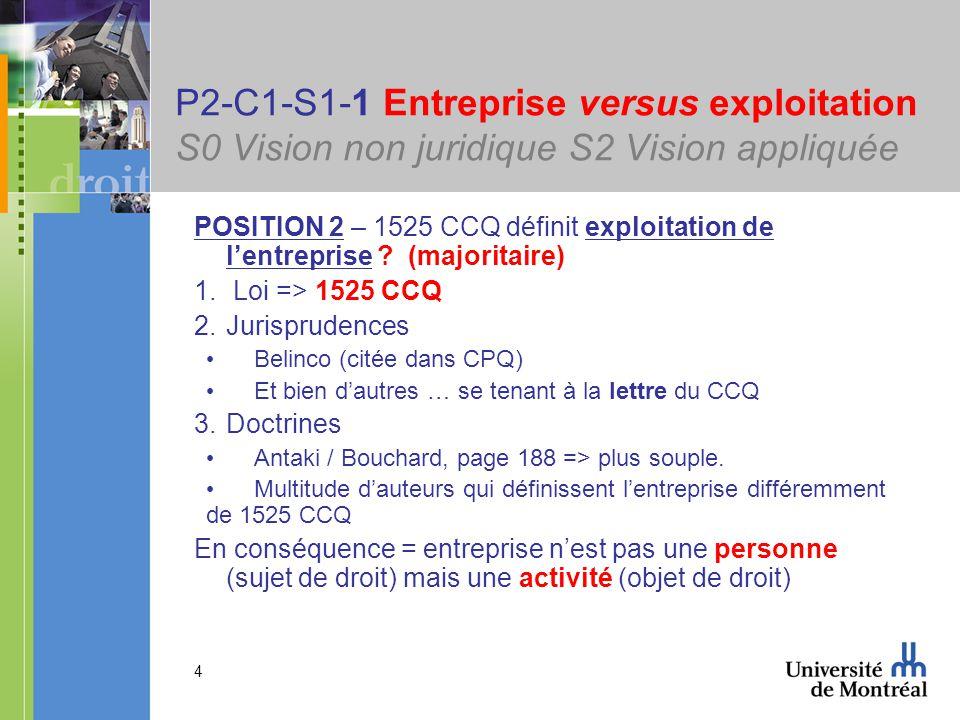 4 P2-C1-S1-1 Entreprise versus exploitation S0 Vision non juridique S2 Vision appliquée POSITION 2 – 1525 CCQ définit exploitation de lentreprise .