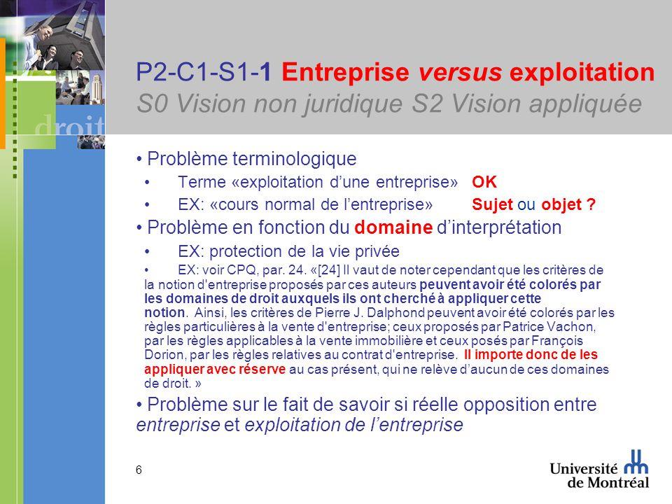6 P2-C1-S1-1 Entreprise versus exploitation S0 Vision non juridique S2 Vision appliquée Problème terminologique Terme «exploitation dune entreprise» OK EX: «cours normal de lentreprise»Sujet ou objet .
