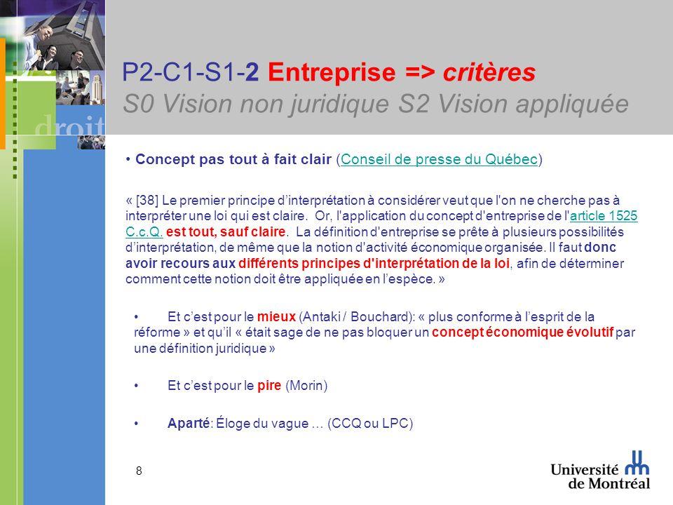8 P2-C1-S1-2 Entreprise => critères S0 Vision non juridique S2 Vision appliquée Concept pas tout à fait clair (Conseil de presse du Québec)Conseil de presse du Québec « [38] Le premier principe dinterprétation à considérer veut que l on ne cherche pas à interpréter une loi qui est claire.