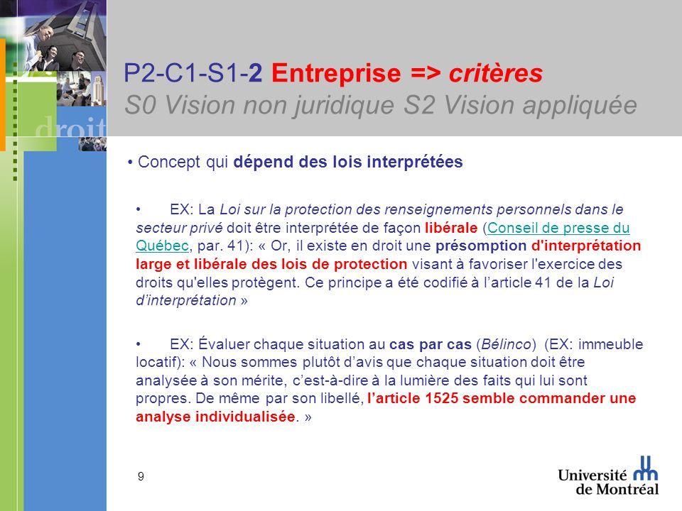 9 P2-C1-S1-2 Entreprise => critères S0 Vision non juridique S2 Vision appliquée Concept qui dépend des lois interprétées EX: La Loi sur la protection des renseignements personnels dans le secteur privé doit être interprétée de façon libérale (Conseil de presse du Québec, par.