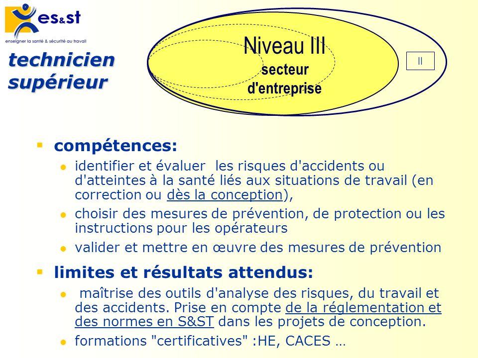 compétences: identifier et évaluer les risques d'accidents ou d'atteintes à la santé liés aux situations de travail (en correction ou dès la conceptio