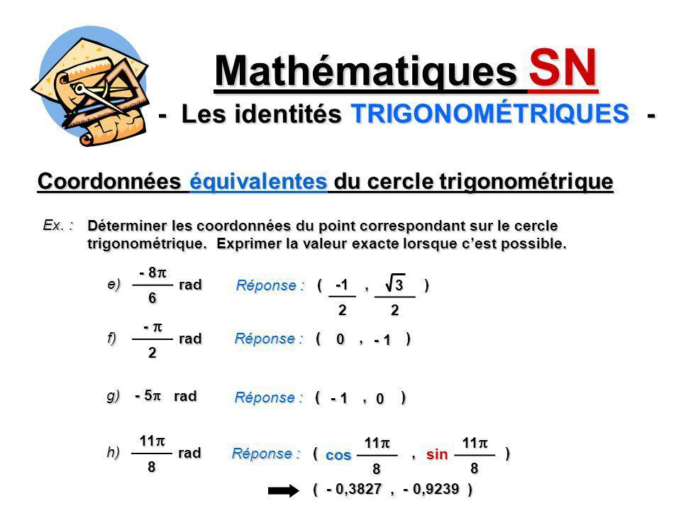 Coordonnées équivalentes du cercle trigonométrique Mathématiques SN - Les identités TRIGONOMÉTRIQUES - Ex. : Déterminer les coordonnées du point corre