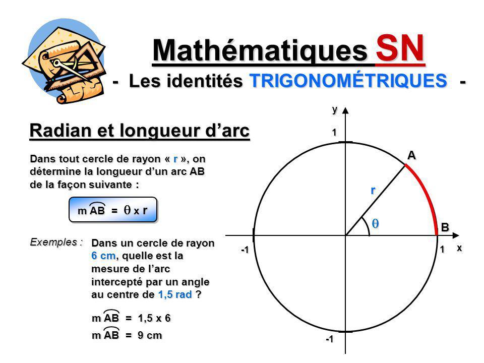 Radian et longueur darc Mathématiques SN - Les identités TRIGONOMÉTRIQUES - Dans tout cercle de rayon « r », on détermine la longueur dun arc AB de la
