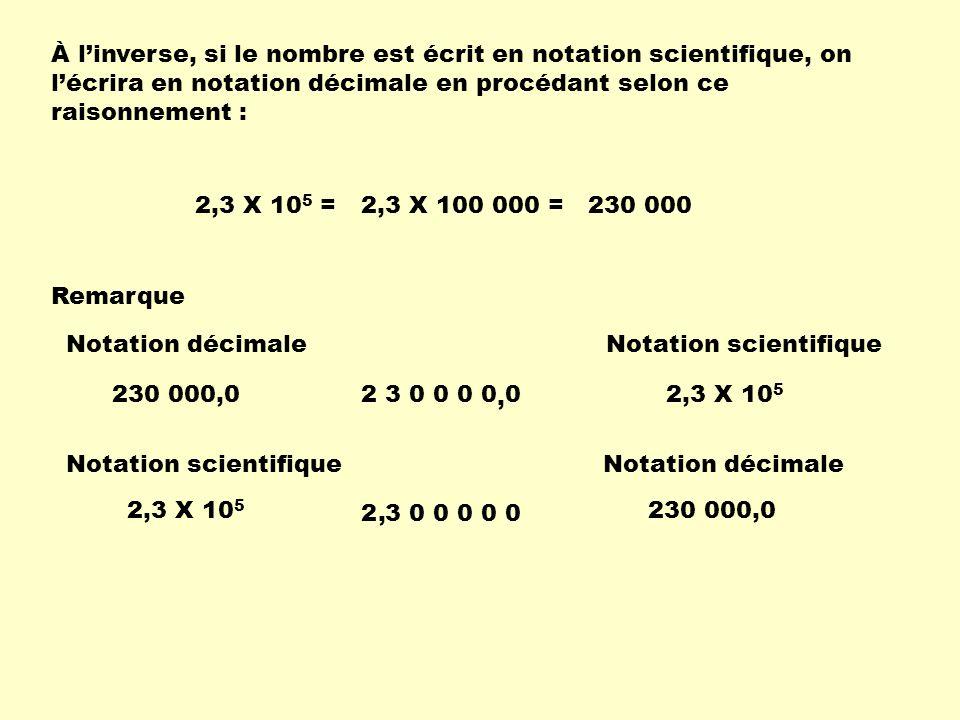 À linverse, si le nombre est écrit en notation scientifique, on lécrira en notation décimale en procédant selon ce raisonnement : 2,3 X 10 5 =2,3 X 10