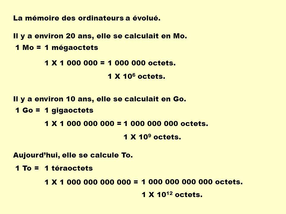 La mémoire des ordinateurs a évolué. Il y a environ 20 ans, elle se calculait en Mo. 1 Mo =1 mégaoctets 1 X 1 000 000 =1 000 000 octets. 1 X 10 6 octe