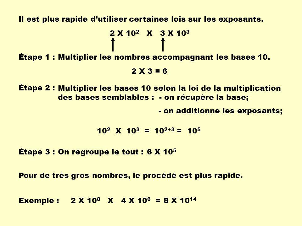Il est plus rapide dutiliser certaines lois sur les exposants. 2 X 10 2 X 3 X 10 3 Étape 1 : Multiplier les nombres accompagnant les bases 10. 2 X 3 =