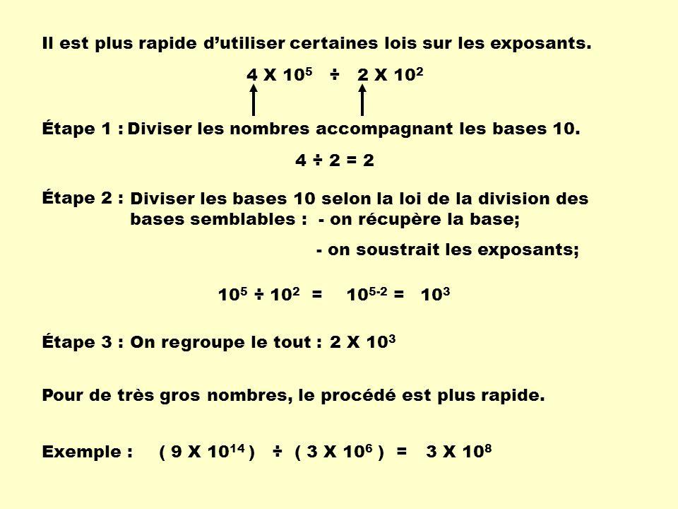Il est plus rapide dutiliser certaines lois sur les exposants. 4 X 10 5 ÷ 2 X 10 2 Étape 1 : Diviser les nombres accompagnant les bases 10. 4 ÷ 2 = 2