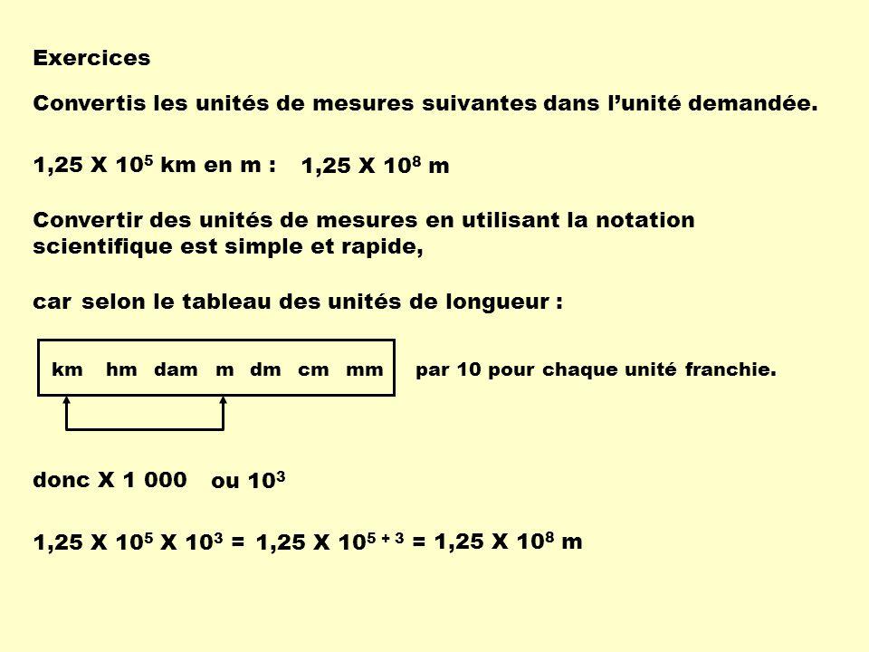 Exercices Convertis les unités de mesures suivantes dans lunité demandée. 1,25 X 10 5 km en m : 1,25 X 10 8 m carselon le tableau des unités de longue