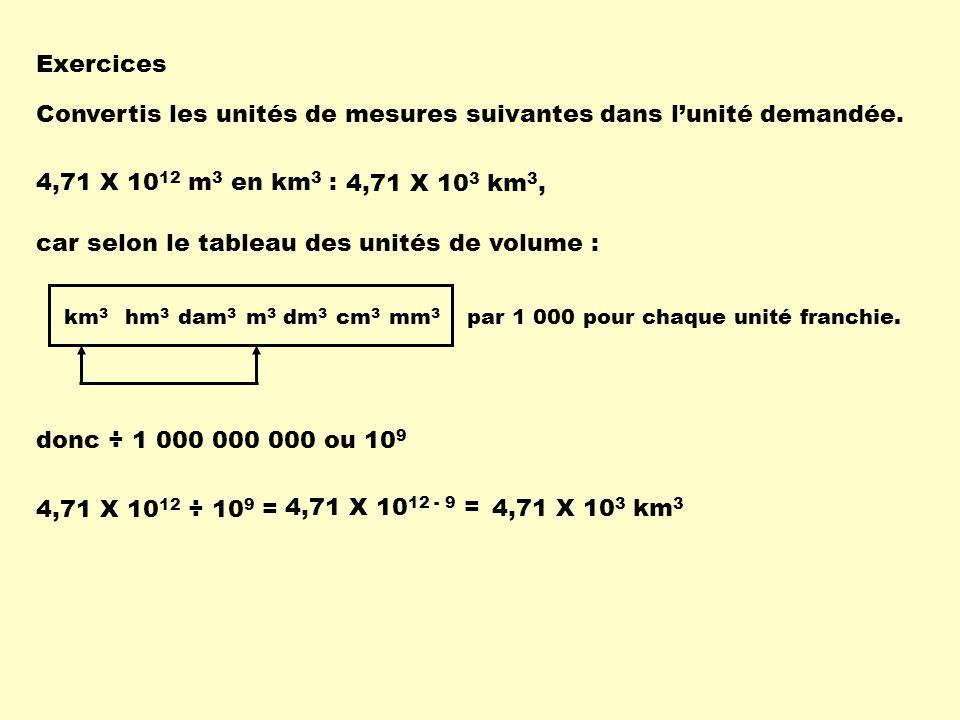 Exercices Convertis les unités de mesures suivantes dans lunité demandée. 4,71 X 10 12 m 3 en km 3 : 4,71 X 10 3 km 3, carselon le tableau des unités